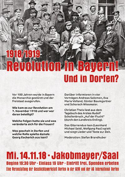 Plakat '1918/1919 - Revolution in Bayern! Und in Dorfen?