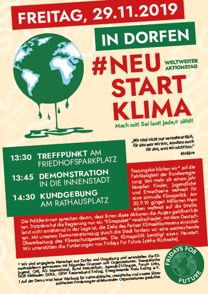 Flyer zur Klimastreikdemo in Dorfen am 29.11.19