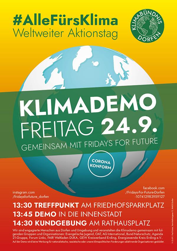 Plakat zur Dorfener Klimademo am 24.9.21